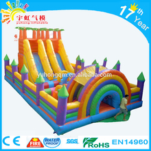 Best promotional price en14960 rainbow Selling well giant inflatable slide