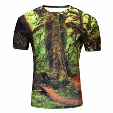 2017 Polyester Cotton T Shirt Wholesale Full Printing Tree Forest Figure Flattering Short Sleeves Shirt