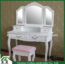 good quality french style dressing table/solid wood white make up table