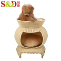 washable plastic rattan small animal house portable dog kennel cage