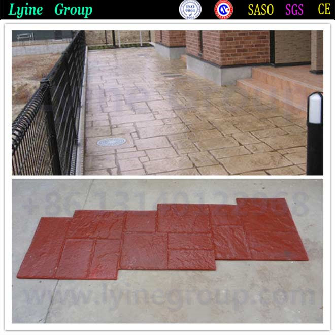 Stained stamped concrete with acrylic polyurethane sealer