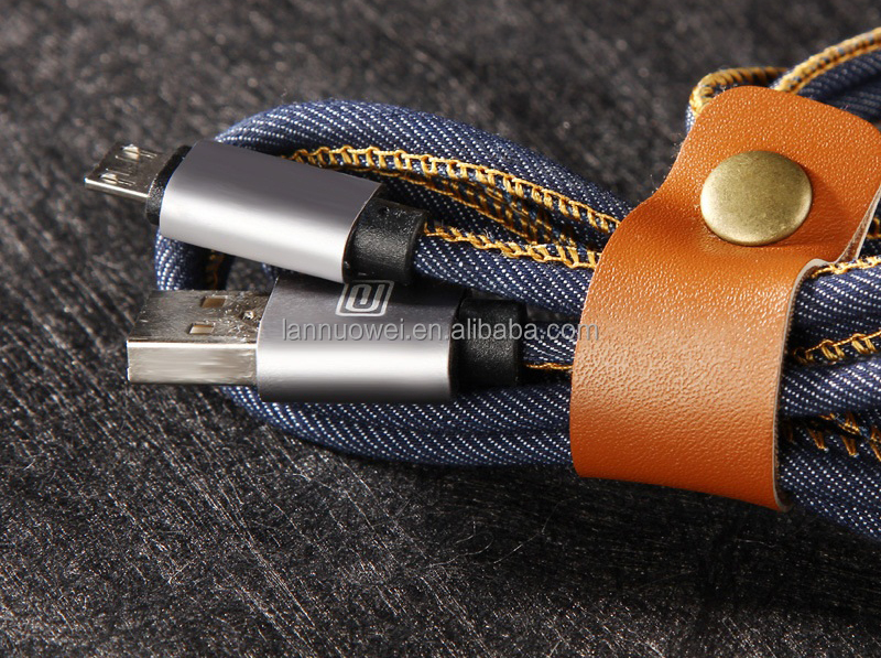 New Premium Leather jeans jacket usb cable for IOS and Android mobile phone charger