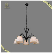 Fancy Wrought iron Black Pendant Lights Indoor Classic Fabric Pendant Light, Fabric Chandelier Lamp for Lighting