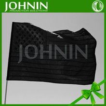 2016 Hot Sale Custom 3x5 feet Nylon Embroidery Black American Flag