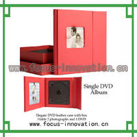 red leather photo frame cd case