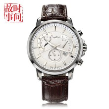 Top Selling Products In Alibaba 5 ATM Water Resistant Stainless Steel Watch with Geniue Leather Strap
