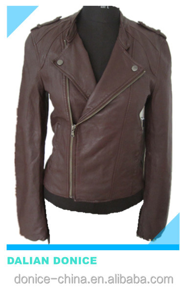 lamb nappa women leather jacket brown genuine leather jacket women