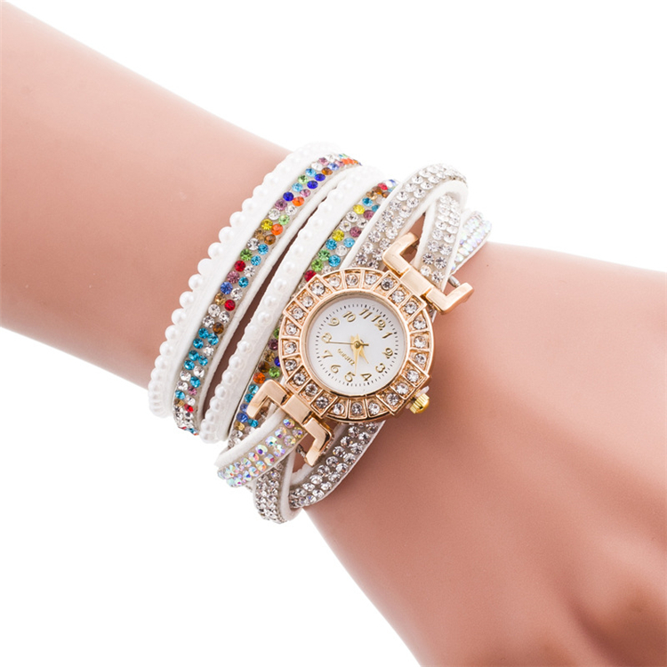 New girls fashion rhinestone bracelet watches 10 colors fancy geneva watches for women