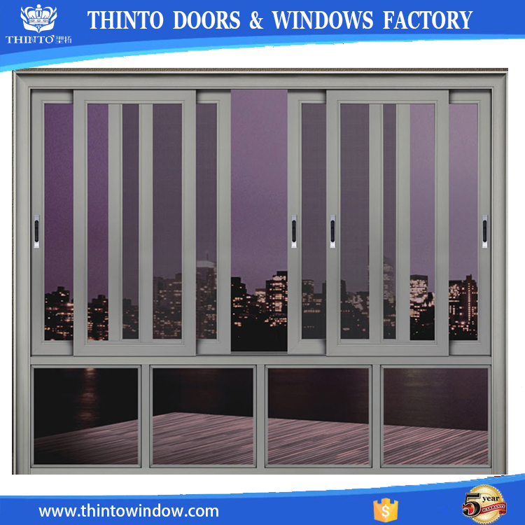 New design vertical tempered glass aluminum sliding window