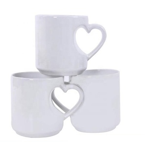 Rubysub H08 2019 Hot Selling New Heart Shape Handle Ceramic Sublimation Funny Coffee Mug Fancy Coffee Cups Mugs