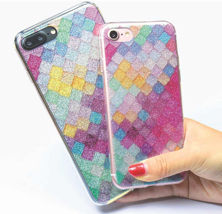 Creative Colorful lozenge lattice plastic mobile phone case for iphone 7 plus back cover