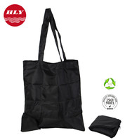 210D Black Cheap Nylon Foldable Tote Bag With Snap Closure