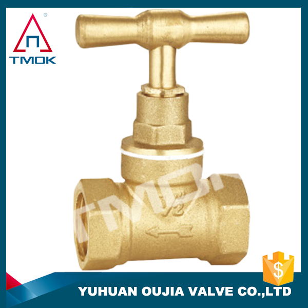 brass sand blasted, fancy finishing with PTFE sealing, TMOK brand high pressure brass stop valve/cock