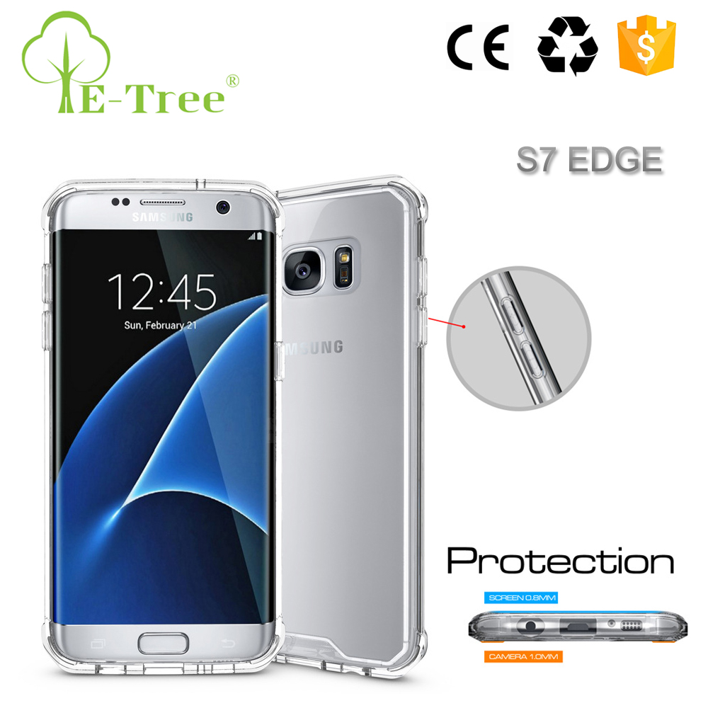 High Quality Transparent Acrylic Hard Back Cover TPU Shockproof Phone Case For Samsung Galaxy S7 Edge