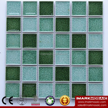 IMARK Diamond Surface Square Shape Green Gradient Color Ice crackle Ceramic/Porcelain Mosaic Tile For Interior House Decoration