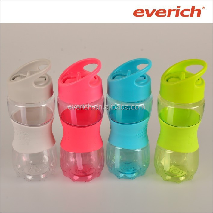 350ml and 600ml kids BPA free plastic water bottle with straw and strap
