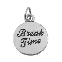 Custom Stamped Zinc Alloy Antique Silver Metal Break Time Disc Charms Back With Anchor