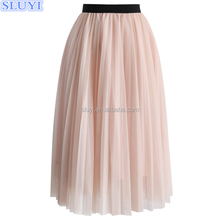 Wholesale long skirt design pictures latest designs tutu skirt dreamy pink mesh pleated tulle skirt
