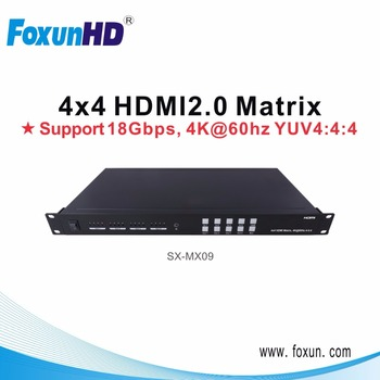 4x4 HDMI Matrix support 4Kx2K @60Hz YUV 4:4:4, HDCP 2.2 input/output, 18 Gbps, with RS232 and Ethernet control
