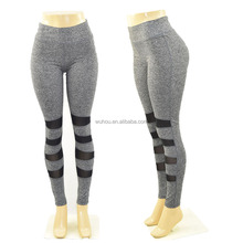 Print High Waist Compression Yoga Pants Wide Waistband Quick Dry Striped Workout Yoga Leggings Fitness Apparel
