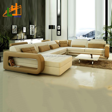 new design modern OEM ODM genuine leather sofa furniture l or u shaped corner sofa