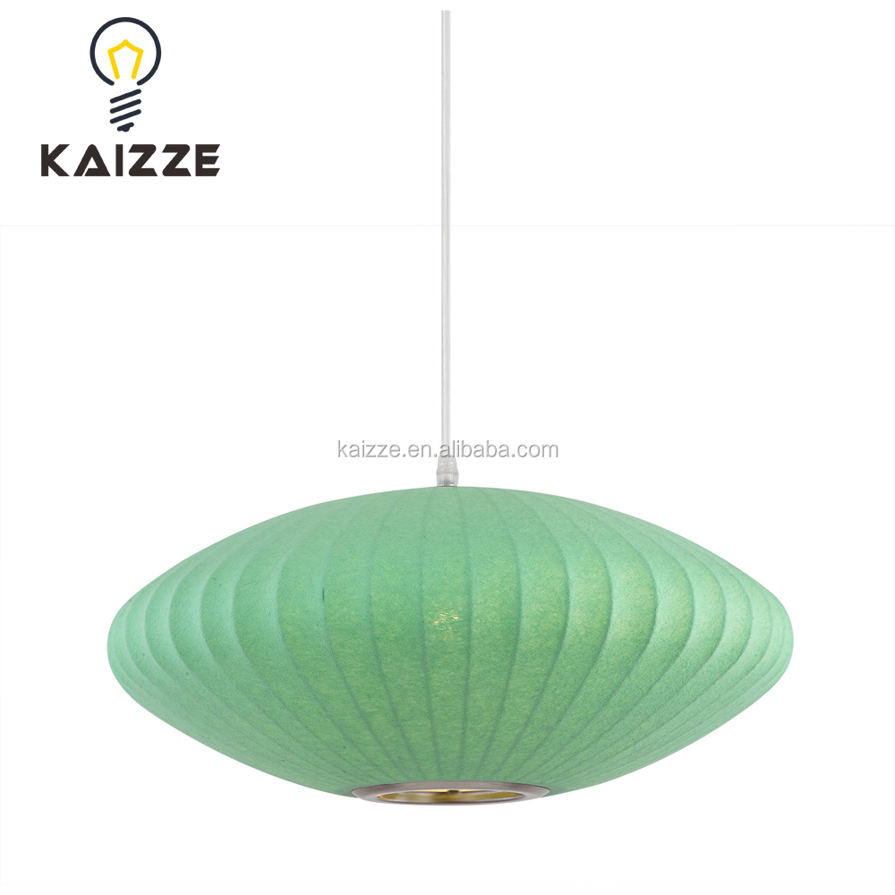 wholesale indoor decoration green fabric led hanging antique pendant lights vintage lamp from zhongshan light
