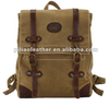 Waxed Canvas Oil Pull-up Leather Vintage Dirty Ruck sack Backpack Back Bag