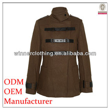 garment factory 100% polyester stand collar womens pvc coats with three belts and big pockets