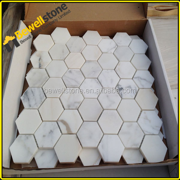 "Hallways wall marble tiles 2"" hexagon carrara marble mosaic"