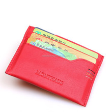 Womens Leather Card Holder Wallet// Beautfiul Slim Design Card Case//soft grainy red leather business card sleeve