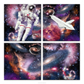 Spaceman and the Dreamlike Cosmos Photo Printing Colorful Outer Universe Canvas Set Stretched Canvas Prints Home Wall Decoration