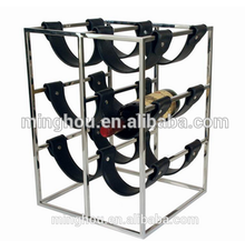 6 Bottles metal wine bottle rack with PU leather belt holder