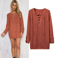 Lades Fashion Long Style Cuff Decoration Knitting Lace up V-neck Sweater women