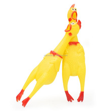 Squealing Squeaker Chew Gift Yellow Rubber Screaming Chicken Smart Pet Dog Products Accessory Toy Large Size KA1612
