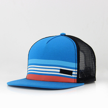 5 panels polyester custom printed logo with belts and mesh back in sports <strong>flat</strong> caps &amp; hats with plastic snapback adjuster