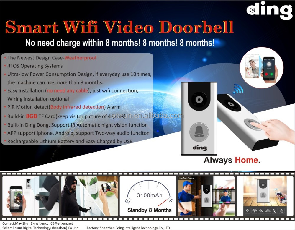 Smart doorbell wifi technology cloud founction video doorbell