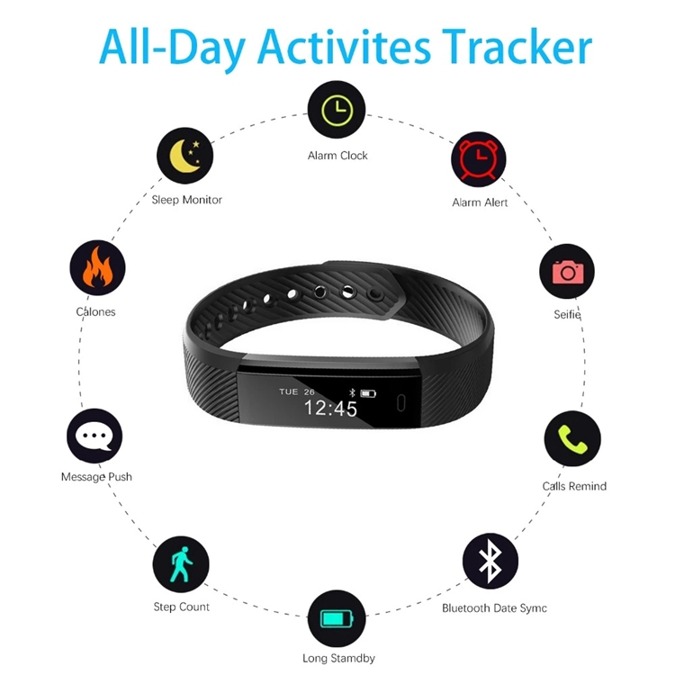Waterproof Android smart watch 2017 bluetooth ID115 fitness bracelet