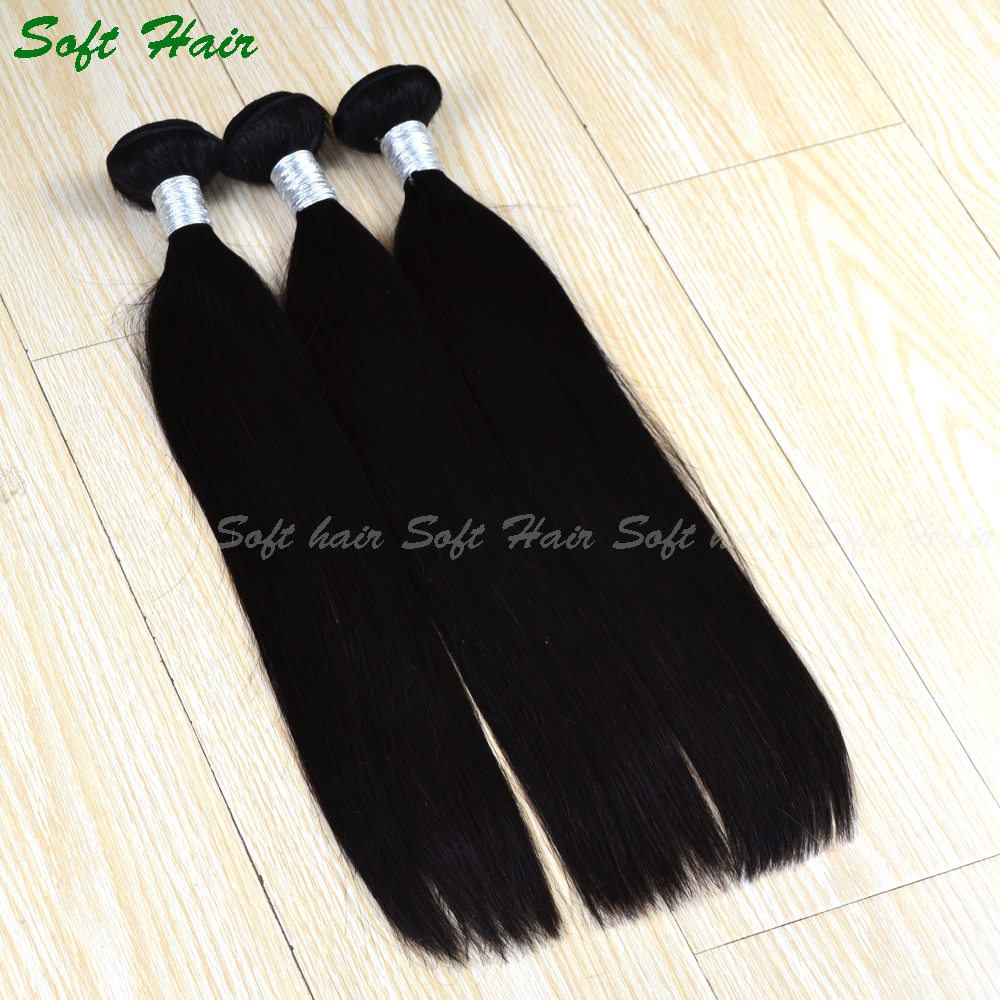 Best selling wholesale hair weave 3 bundles 7 A grade Peruvian Virgin Hair Straight Human Hair Weaves Natural <strong>black</strong>