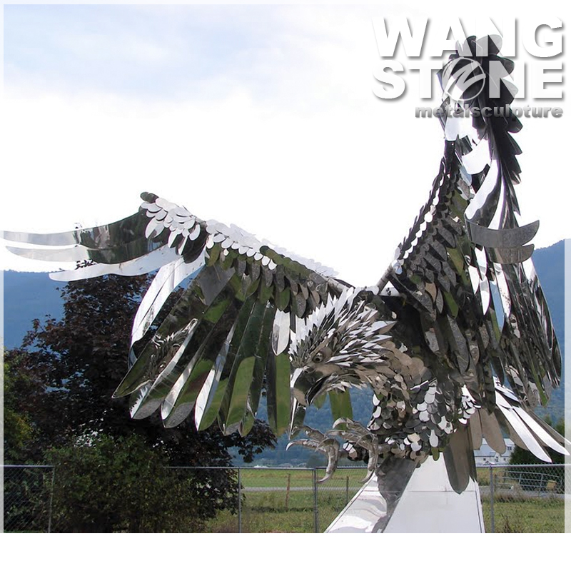Large Modern Stainless Steel Metal Outdoor Eagle Statue