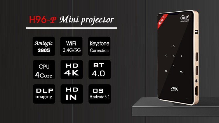 Mini 3d projector H96P quad core 1G 8G android 5.1 mini projector