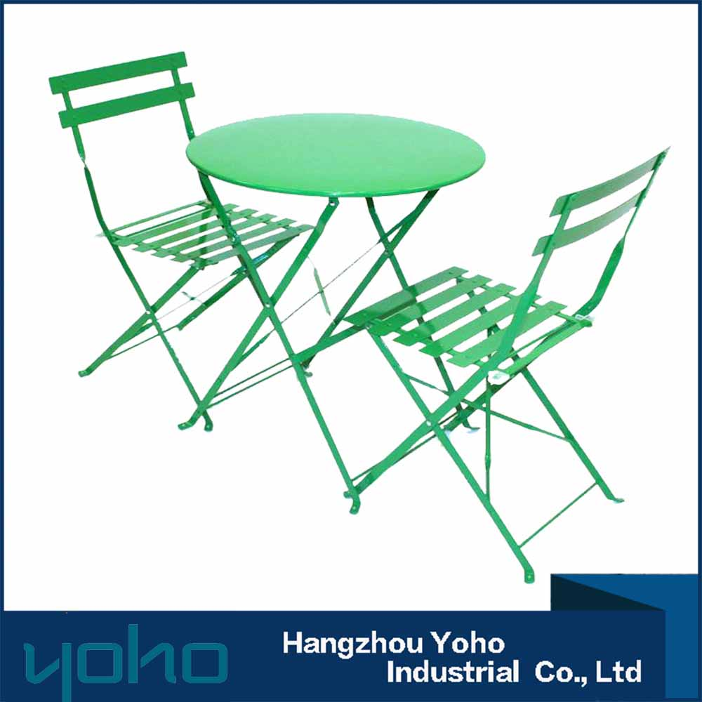 Wrought Iron 3pcs Foldable Bistro Table And Chair Set/Powder-Coated Steel bistro set/multi-purpose outdoor table and chair set