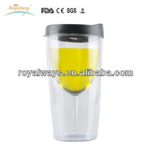 Hot sell item! plastic 10oz double wall insulated wine glass with lid