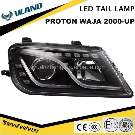 Malaysia Series PROTON WAJA 2000-UP LED DRL Headlights Chrome Housing Assembly Two Types