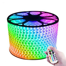 220V 110V LED Strip 5050 50m 100m IP67 Waterproof <strong>RGB</strong> 16 Colors Rope Lighting With RF Music Sync Bluetooth Remote Controller