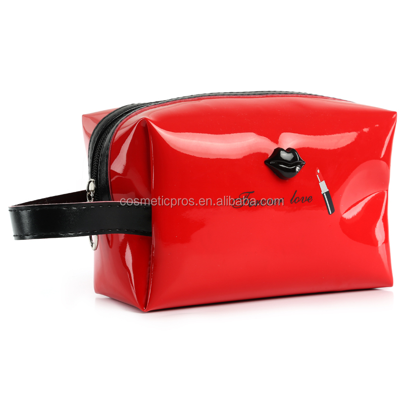 Wholesale Shiny PU Cosmetic Handbag Fashion Lip Travel Toiletry Organizer Bag Women New Makeup Pouch