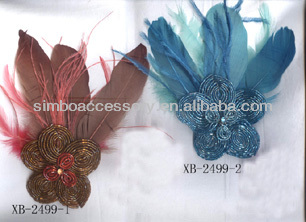 fashion feather and glass seed beads flower jewelry brooch pin hair clip