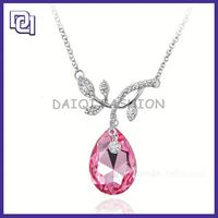 hot sale cheap necklace ,new alloy silver large pendant necklace, teardrop shape pink crystal pendant necklace