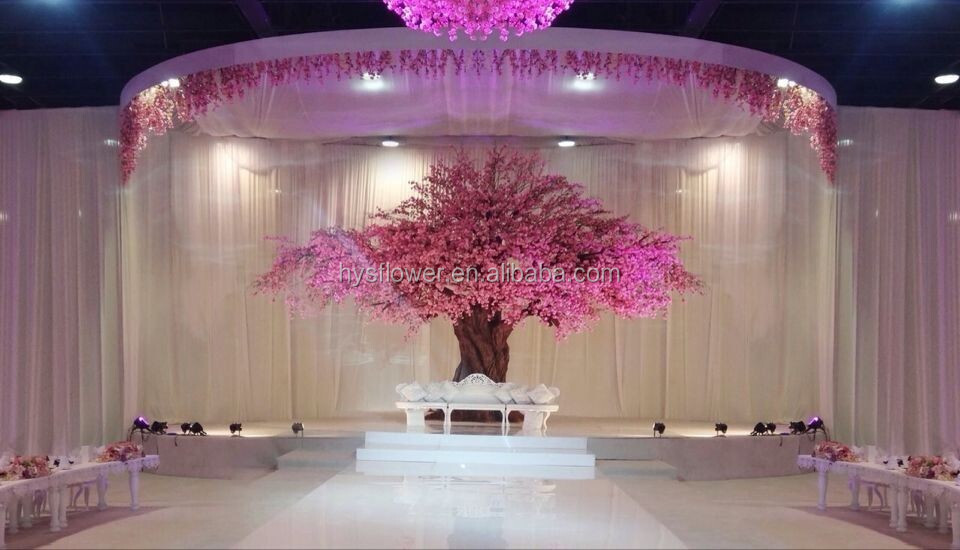 Wedding stage decoration silk artificial cherry blossom trees for sale