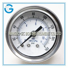 High quality stainless steel brass internal manometer psi