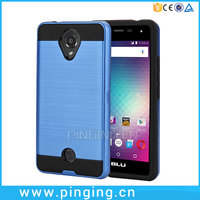 Fashion 2 in 1 pc tpu hybrid shockproof brushed armor phone case for blu r1 hd